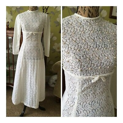 Vintage 1970's Ivory Polyester Lace Faux Pearl & Bead Bow Detail Wedding Dress 8