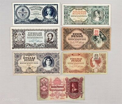 Lot of 7 Hungary Paper Currency Notes in Mixed Grades, 1930-1946 Issue Dates