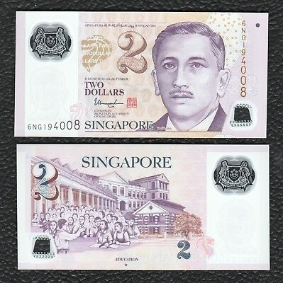 Singapore P-46h 2015 Polymer Plastic 2 Dollars -Star - Crisp  Uncirculated