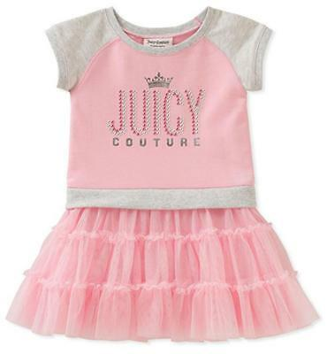 Juicy Couture Big Girls Pink & Gray Dress Size 7 8/10 12 $75