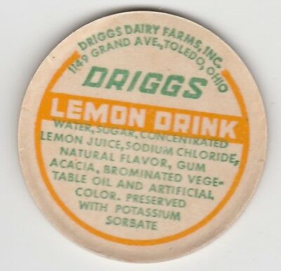 Milk Bottle Cap. Driggs Dairy Farm, Inc. Toledo, Oh.