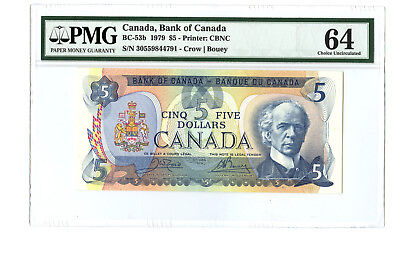 1979 $5 BANK OF CANADA PMG 64 EPQ BC-53b BANKNOTE CROW BOUEY S/N 30559844791