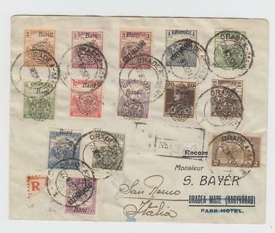 Hungary: Romanian occ. of Nagyvarad (Oradea): R-cover to Italy, 14 stamps