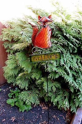 Fox Metal Garden Stake Fusion Glass Yard Decor Lawn Ornament New 42.5 In.