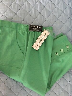 823136389f3 Alfred Dunner Kiwi Green Bahama Bays Pull On Capris 6P Womens  48 FreeShip