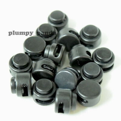 "Black Mini Buttom ( Hole = 1/2"" ) Round Cordlock Cord Locks Toggles Stopper Ends"