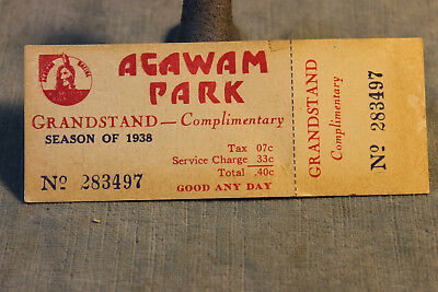 1938 Agawam Park Complimentary Unused Grandstand Horse Race Ticket Pass