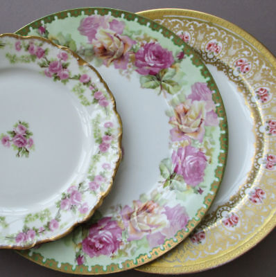 3 Antique French LIMOGES Porcelain Plates Rose SWAGS Large PINK ROSES GILT Trim