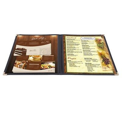 30 Nontoxic Menu Cover 8.5x11 2 Page 4 View Double Fold Stitch Restaurant Black