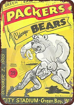 "1955 Green Bay Packers vs Chicago Bears Vintage Rustic Retro Metal Sign 8"" x 12"""