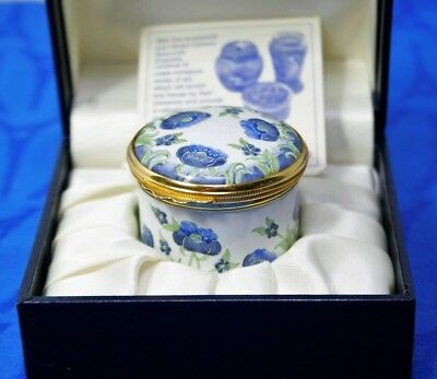 MOORCROFT Enamel Pill Trinket Box Blue Poppies, MINT, in Presentation Box.