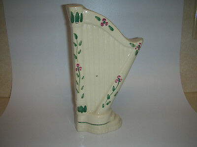 Vintage Wall Pocket HARP ~ Green & Pink Accents