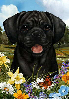 Garden Indoor/Outdoor Summer Flag - Black Puggle 182801