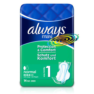 Always Maxi Normal Protection & Comfort Sanitary Towels With Wings 14 Pads