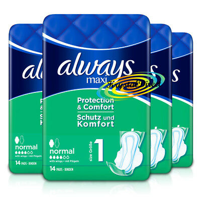 4x Always Maxi Normal Protection & Comfort Sanitary Towels With Wings 14 Pads