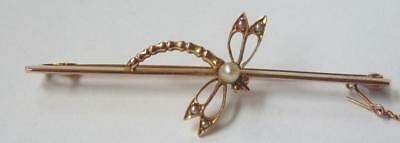 Vintage 9 Carat Gold & Pearl Dragonfly Brooch Weight 3 Grams