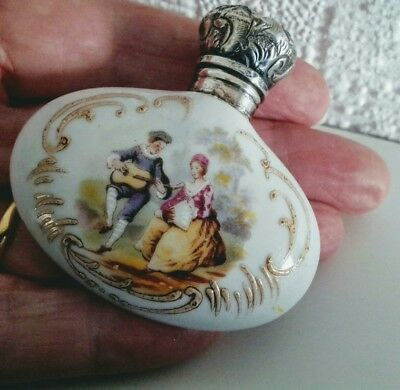 Fine  Antique Silver Top  Porcelain Scent Perfume Bottle Courting Couple  C1880