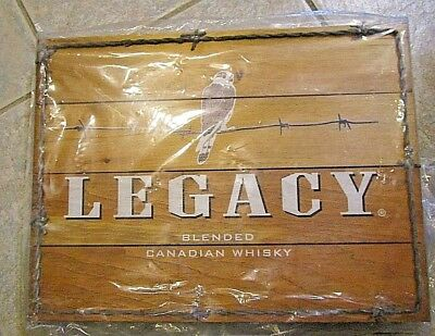 Legacy Blended Canadian Whiskey Wood Advertising Sign, New, Hawk Logo