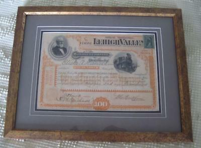 1898 Lehigh Valley Railroad Company 100 Shares Stock Certificate Framed