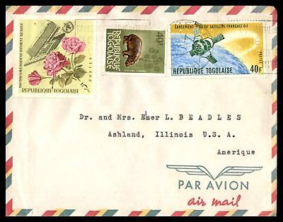 MINISTERE DEL INTERIEUR LOME 1960s AIR MAIL AD COVER TO ASHLAND ILLINOIS USA
