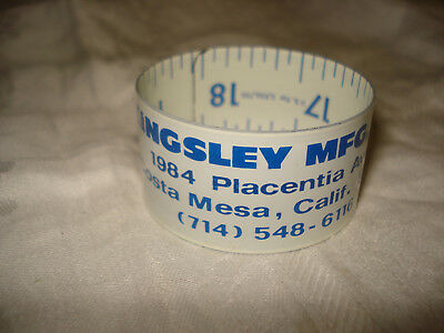 "Vtg 1960 Kingsley Mfg Co CA Metal Roll-Up Ruler 18"" Lufkin USA"
