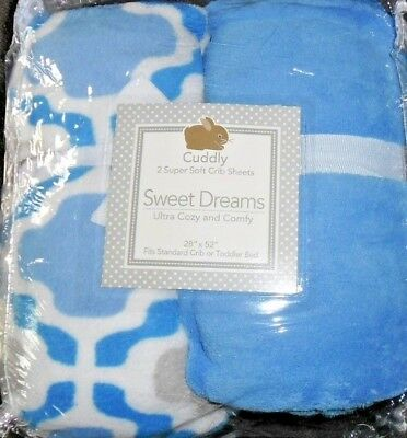 Sweet Dreams Soft 2Pk Fleece Crib Sheets New! Blue Camo Two Tone Boy New!