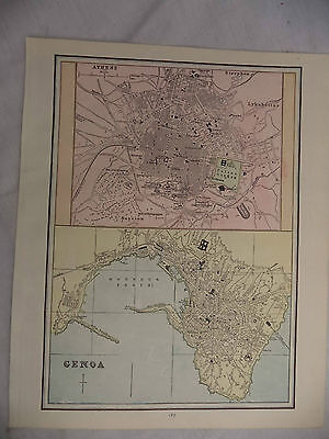 1891 Color Geo Cram Map The City of Athens & Genoa With Street Names