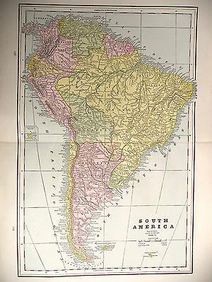 Antique 1891 Tinted Geo F Cram. Map Cuba Bahama Islands + South America Europe