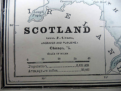 Antique 1891 Geo F Cram Color Map Scotland or England & Wales Be Great Framed