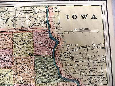 Antique 1891 Color Tinted Geo F Cram Map of Missouri or Iowa Be Great Framed