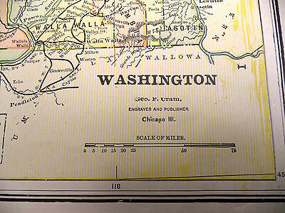 Antique 1891 Color  Geo F Cram Map Idaho or Washington State Be Great Framed