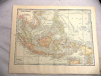 1891 Color Geo Cram Map The Pacific Islands or The East Indies