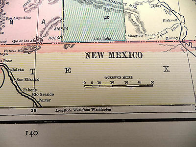 Stunning Antique 1891 Color  Tinted Geo F Cram Map of Colorado or New Mexico