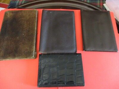 Four Mens Vintage Billfolds/Wallets, Leather, Various Textures, Croc, Cow-Hide