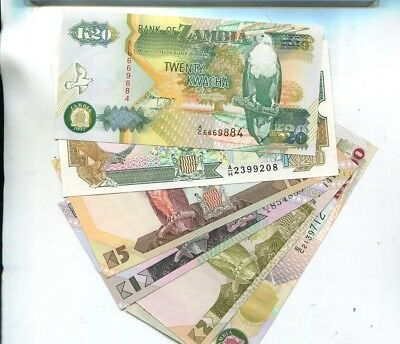 Zambia 1991 1992 1984  Currency Note Lot Of 6 Different Cu 1089L