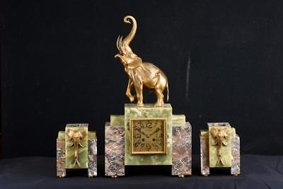 Art Deco Mantel Clock Ormolu Elephant Marble 3 Piece