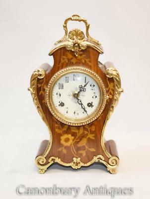 French Rococo Mantle Clock Marquetry Inlay