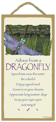 ADVICE FROM A DRAGONFLY Wisdom Love WOOD SIGN wall NOVELTY PLAQUE pond nature