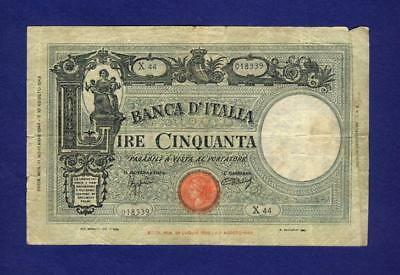 1943 Italy 50 Lire Banknote