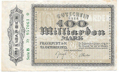 Frankfurt am Main - 100 Milliarden Mark - 25.10.1923