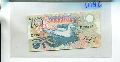 Seychelles 1979 10 Rupees Currency Note Cu 1119L