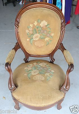EARLY1900'S ANTIQUE NEEDLEPOINT QUEEN ANNE CHAIR, NEEDS REUPHOLS, Great Bones!