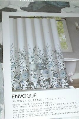 ENVOGUE MARDAN SEAFOAM BLUE WHITE GRAY FLORAL Flowers SHOWER CURTAIN NEW