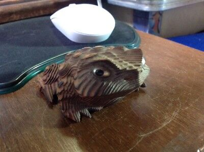 """Japan Wood Carved Frog Toad Cryptomeria 3 1/2"""" X 3"""" Wooden Marked Japan"""