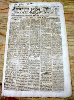1793 MASSACHUSETTS newspaper Boston Independent Chronicle w Early US DENTIST AD