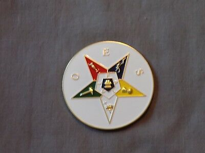 "Masonic 3"" Car Emblem Colorful Order Eastern Star OES Freemasonry Metal NEW!"