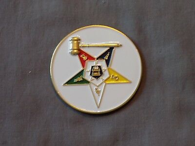 "Masonic 3"" Car Emblem Colorful Order Eastern Star OES Past Matron Metal NEW!"