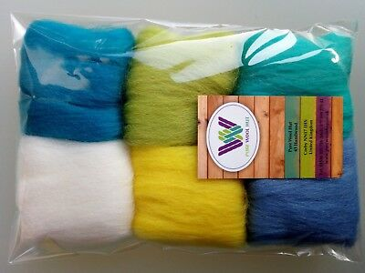Holiday set* Pure Wool Tops for felting 6 colours: white yellow green blue 30g