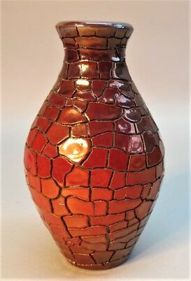 Gorgeous Signed ZOLNAY RED EOSIN HUNGARIAN Art Pottery Vase  c. 1900  antique