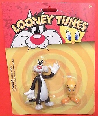 New Tweety Bird & Sylvester Cat Bendable Figure Set WB Looney Tunes TV Series